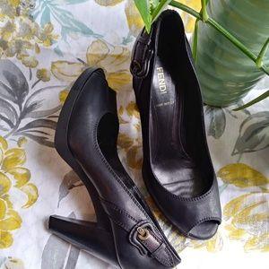 Fendi Black Peep Toe Heels